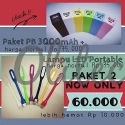 Paket 2 (PB 3000mah+Lampu LED Portable)