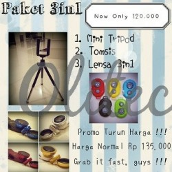 Paket 3 in 1 (Tomsis, Mini Tripod, Fisheye)